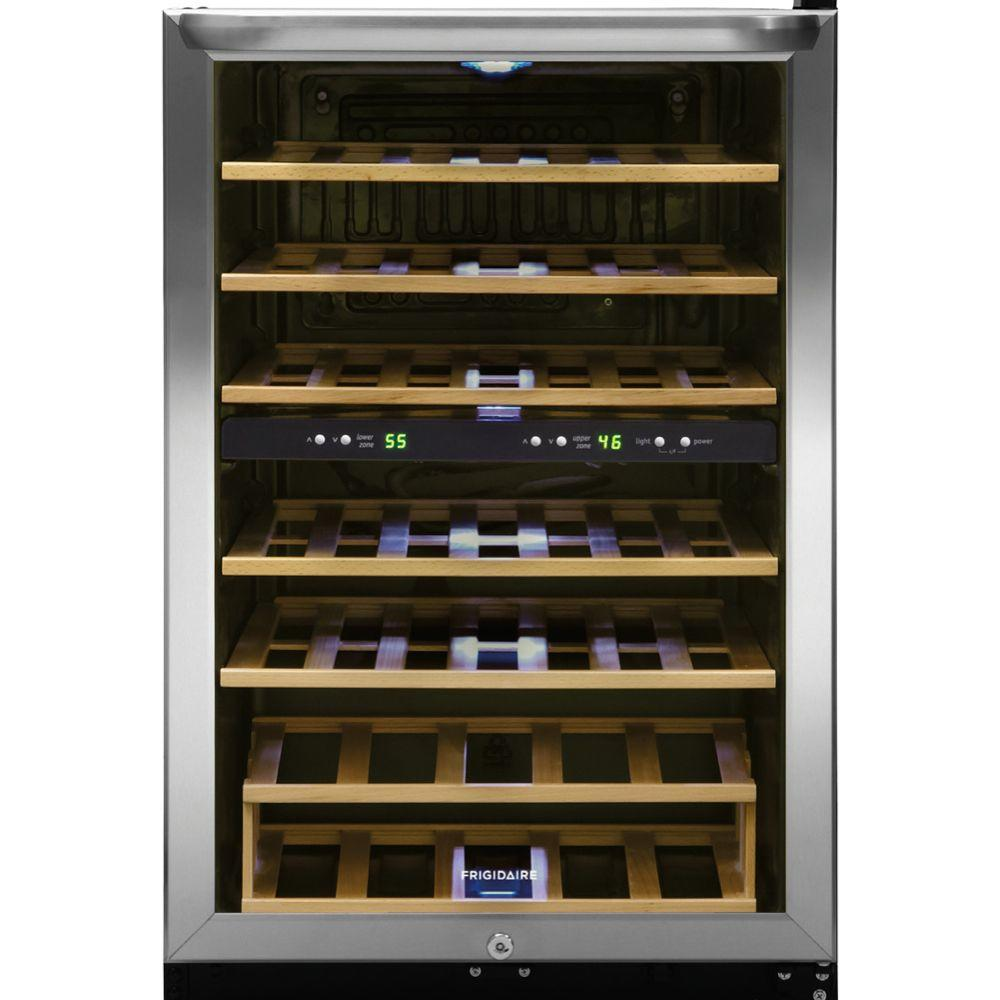 Frigidaire 38 Bottle Wine Cooler With 2 Temperature Zones In Stainless Steel Ffwc3822qs The Home Depot Wine Refrigerator Wine Cooler Wine Chiller
