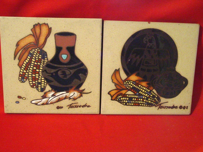 Pottery Tile Vintage Cleo Teissedre 1982 Trivet Pueblo Corn Design 6