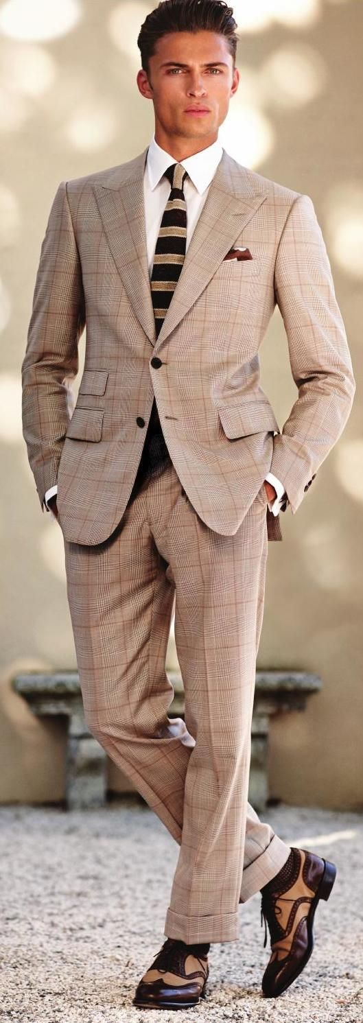 Guide to Men\'s Cocktail Dress Code | Beige suits, Brown shoe and ...
