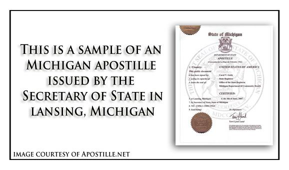 State Of Michigan Sample Apostille Issued In Lansing Should
