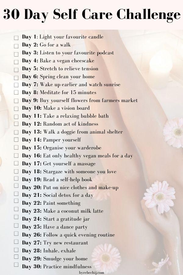 30 Days of Self Care Challenge   Self care, Self, Self improvement