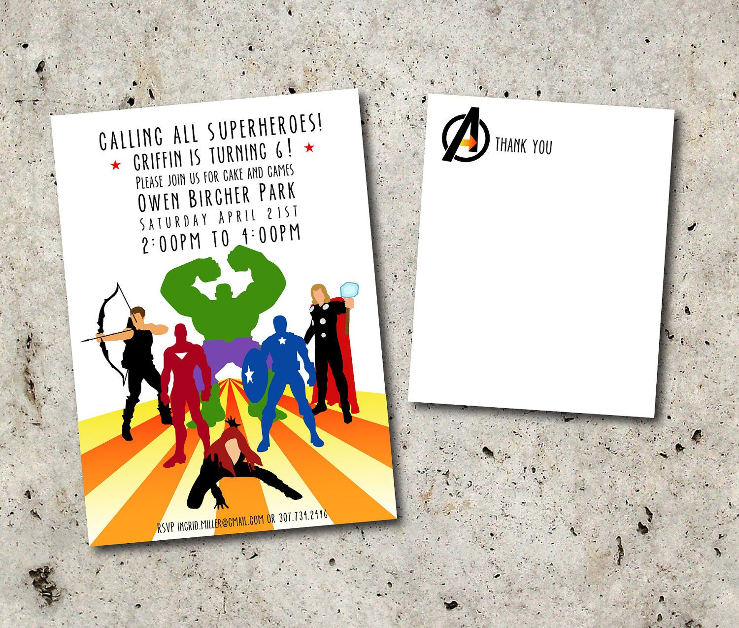 AVENGERS SUPERHERO INVITATION 5x7 and Thank You Note. Printable file ...