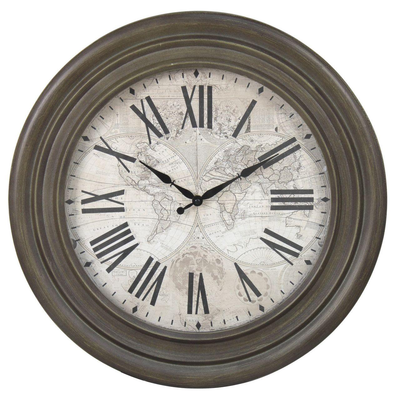Castleton home 48cm antique world map clock mirrors and wall castleton home 48cm antique world map clock gumiabroncs Gallery