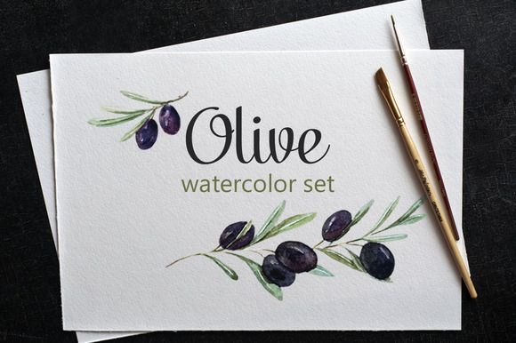 Watercolor set of olives by Watercolor Gallery on Creative Market