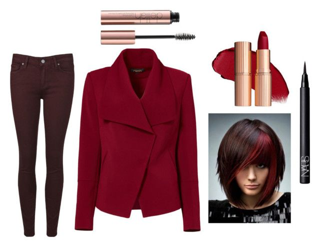 """REDy?"" by lividramalyfe ❤ liked on Polyvore featuring Greylin, NARS Cosmetics, Paige Denim, red, REDLIP and redset"