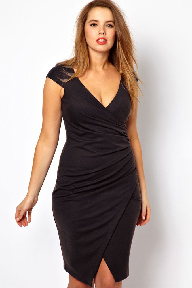 Online Inquire Plus Size Black Ruched Wrap Midi Dress Buying