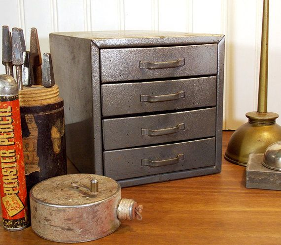 Vintage 4 Drawer Industrial Metal Box Tool Chest