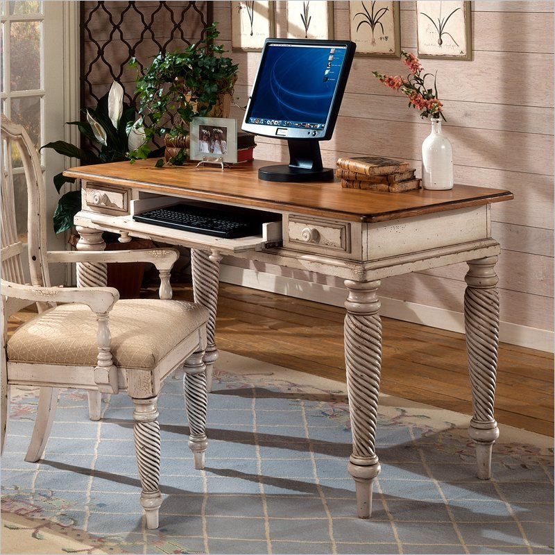 Hillsdale Wilshire Wood Writing Desk In Antique White Antique