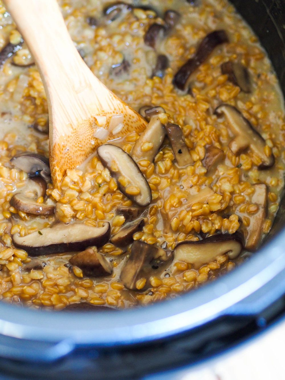 Instant pot mushroom and wheat berry risotto with images