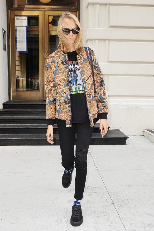 382738a2aea6d0 Cara Delevingne wearing Saint Laurent Tapestry Teddy Jacket