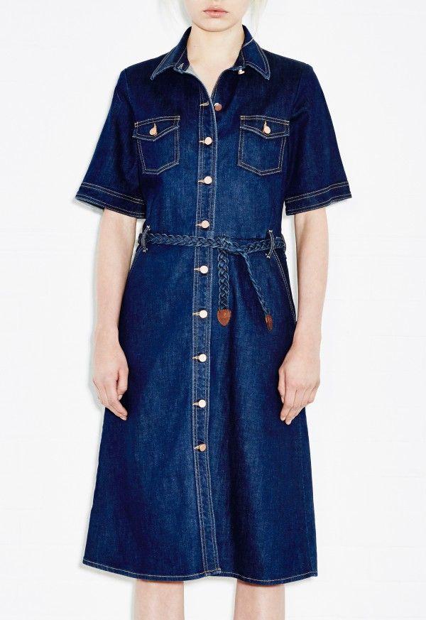 6289b79873c 70s Denim Dress - Braid-belted shirt dress - Ocean Blue - MiH ...