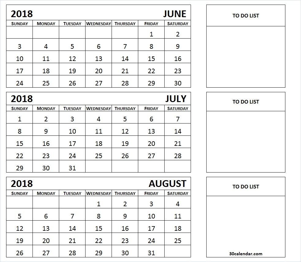 June July August 3 Month 2018 Calendar With To Do List 2018