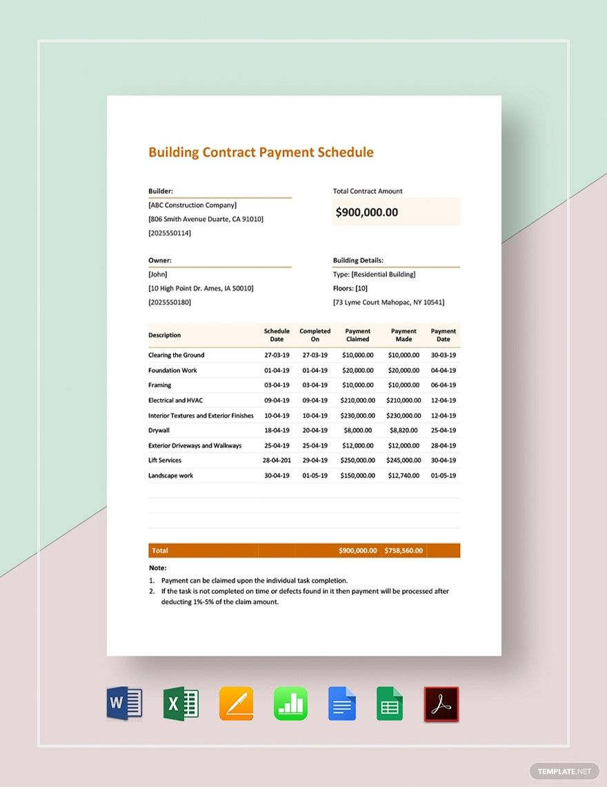 Building Contract Payment Schedule Template Pdf Word Doc Excel Google Docs Apple Mac Pages Google Sheets Apple Numbers In 2020 Schedule Template Calendar Template Invitation Templates Word