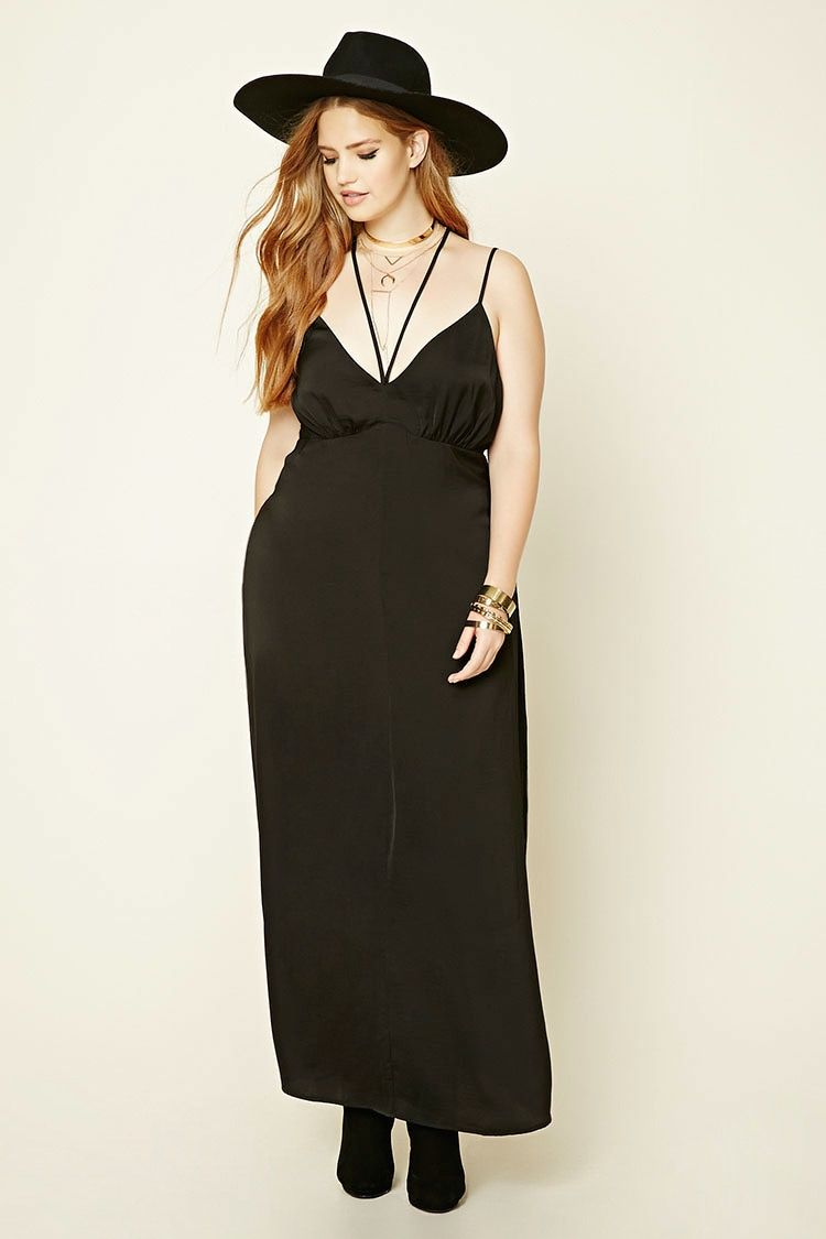 cd4d5a3b589ff Forever 21+ - A sheeny woven maxi dress featuring a front crisscross  strappy design