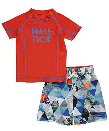 b681058737 Nautica Boys' Rashguard Set with Upf 50+ Sun Protection 82% Polyester/18%  Spandex Rashguard Top Pull on Swim Bottoms UPF 50+ Sun Protection
