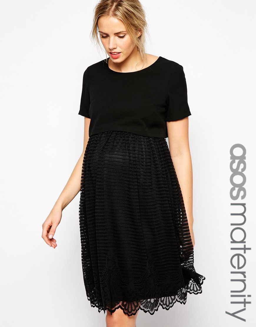 5869a5a5e1265 ASOS Maternity Exclusive Shell Top Dress with Stripe Lace Skirt ...