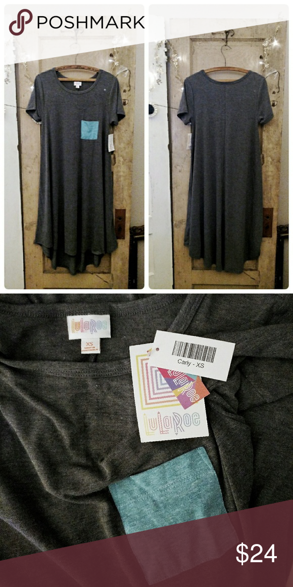NWT LuLaRoe Gray & Blue Carly Pocket Dress Brand new gray high-low, short-sleeved dress with a blue pocket on the front. Size XS (runs large), 62% Polyester, 34% Rayon, 4% Spandex. LuLaRoe Dresses High Low