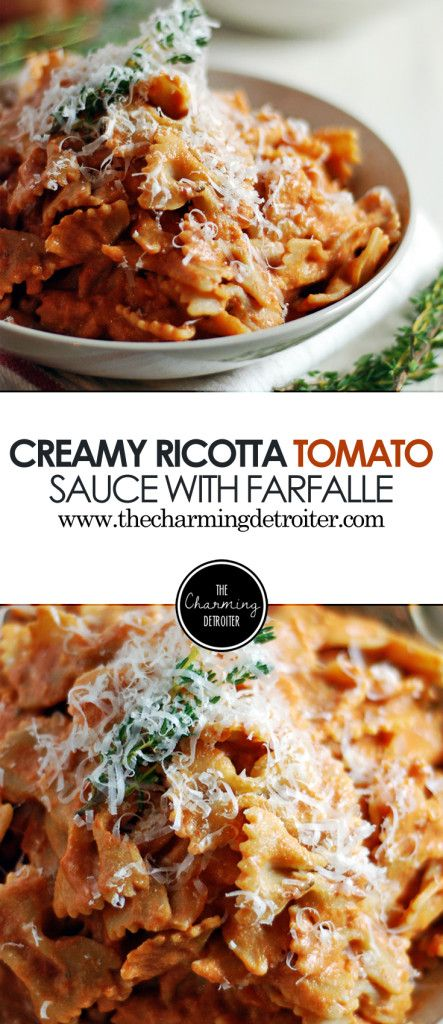 This creamy ricotta tomato sauce features ricotta and fresh thyme, and is paired with farfalle for a delicious vegetarian meal that is super filling!
