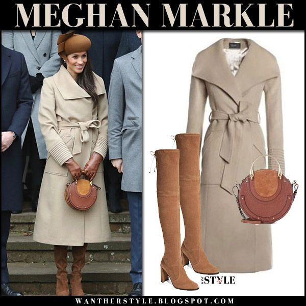 Meghan Markle In Beige Wool Coat With Round Brown Bag At Christmas