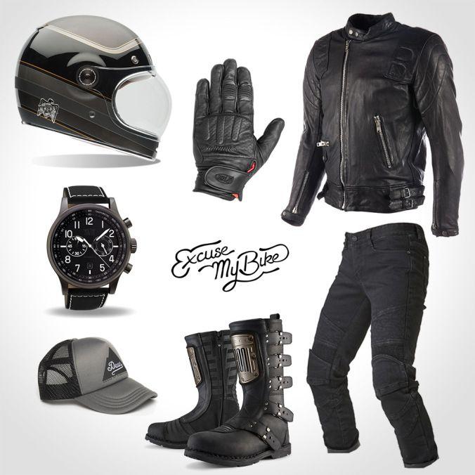 total look cafe racer excuse my bike motorcycle fashion pinterest moto vetement moto et. Black Bedroom Furniture Sets. Home Design Ideas