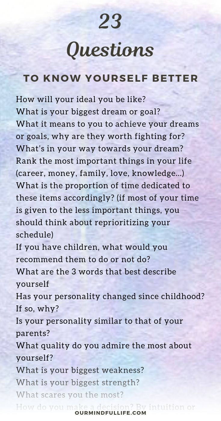 23 Thoughtprovoking Questions To Boost Your Selfawareness is part of Self awareness quotes, Awareness quotes, This or that questions, Journal writing prompts, Self care activities, Self exploration - Do you know yourself well  Here are a list of selfawareness questions that will help to develop a profound selfunderstanding  Question 1 Do you