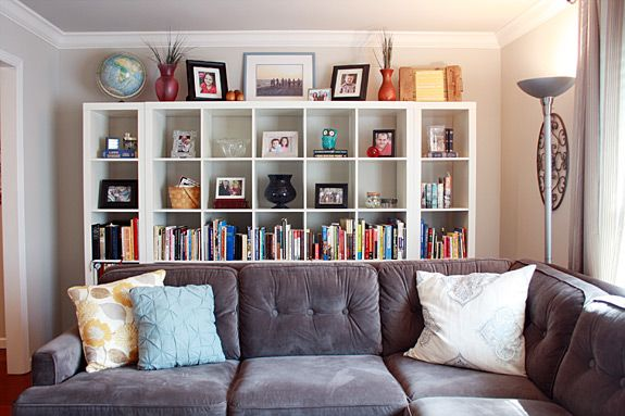 Great Bookcase Behind Sofa From Designsponge | Arranging Furniture, Pantry And  Shelves