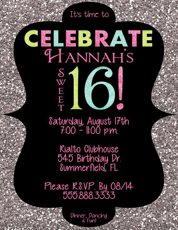 PRINTABLE Sweet 16 Sparkle Invitation PDF or by AllisonHopeDesigns