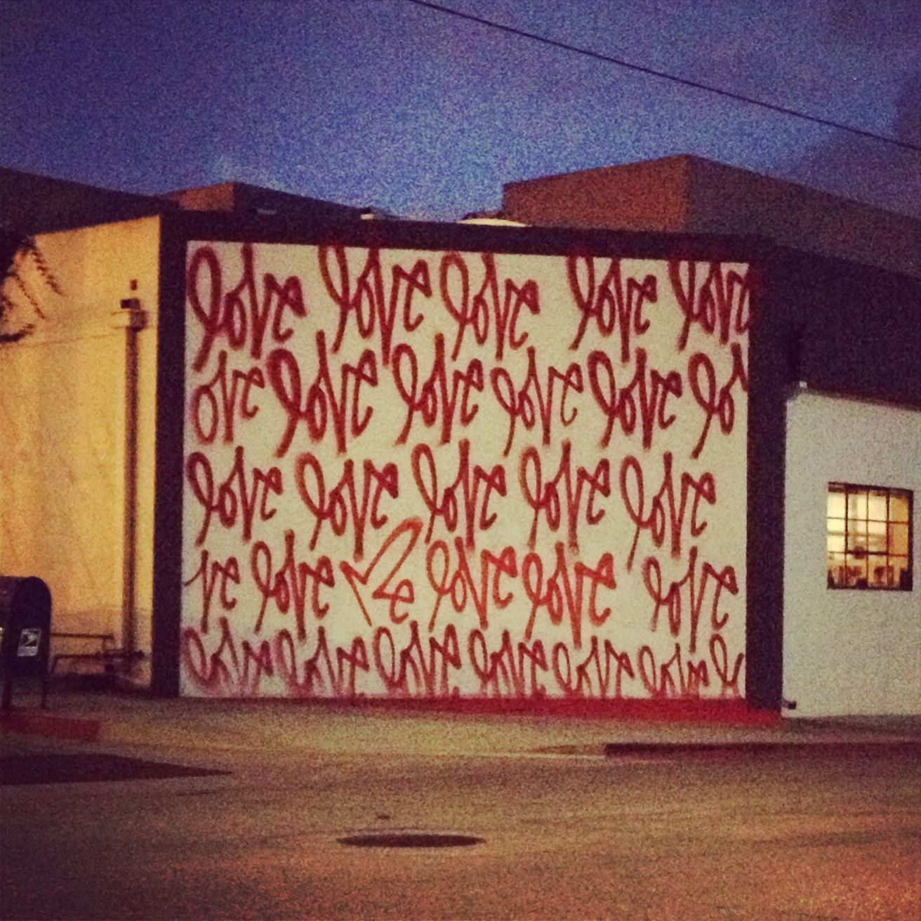 Curtis kuligs love me graffiti in culver city corner of hayden avenue and webster drive