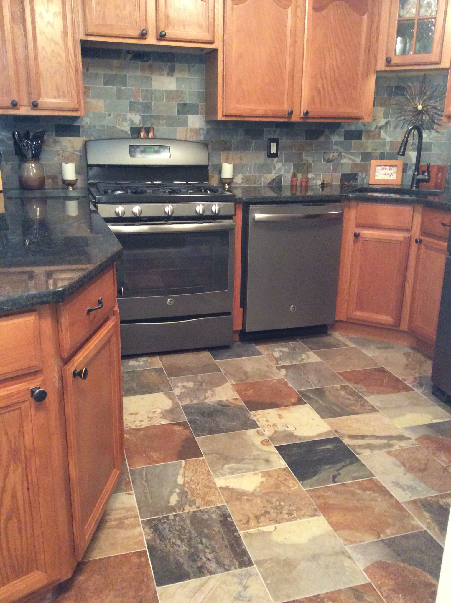 Slate Flooring Kitchen Porcelain Slate Tile Kitchen With Ge Slate Appliances Home