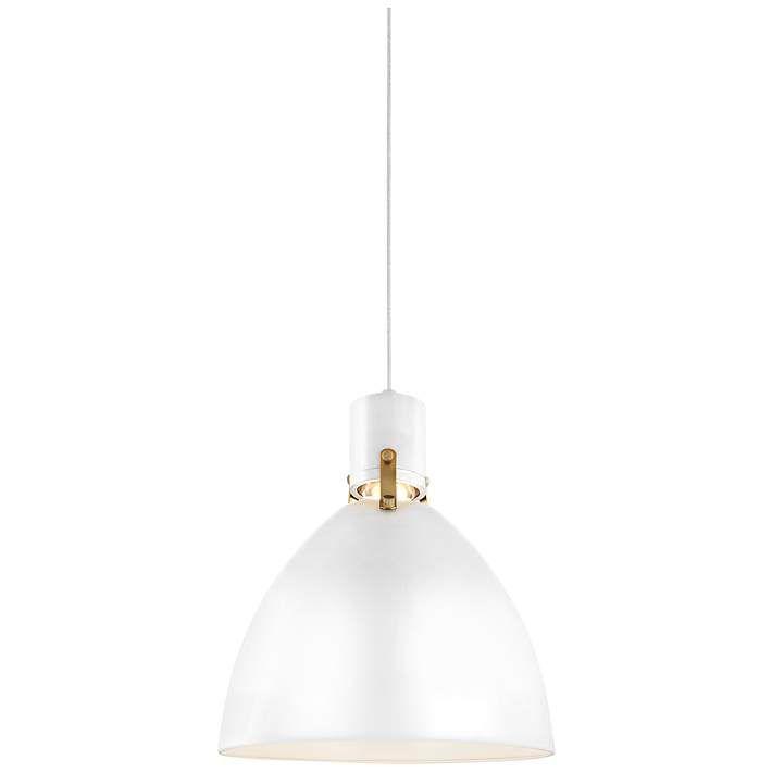 "Feiss Brynne 14""W Flat White LED Scandinavian Pendant"