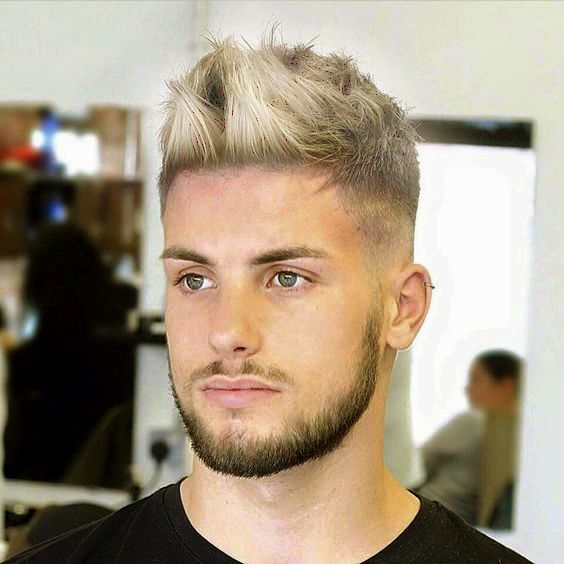 Bleached High Fade With Messy Fauxhawk Edgy Hair Baxter Hair Mens Hairstyles