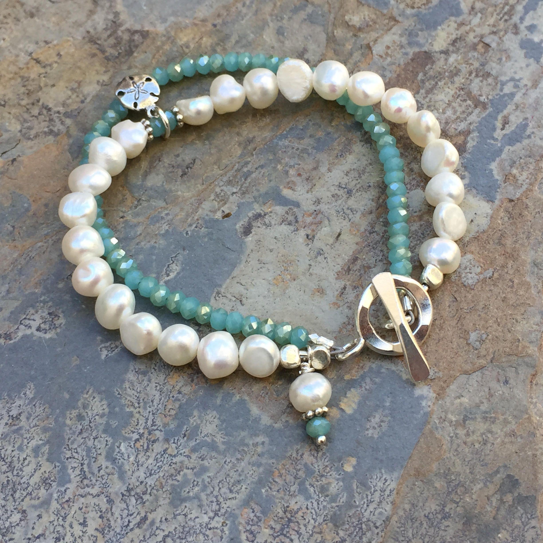 Beach Bracelet White Pearls And Sea Foam Green Bracelet Sand Dollar Charm Hill Tribe Silver Toggle C Beachy Bracelets Beach Bracelets