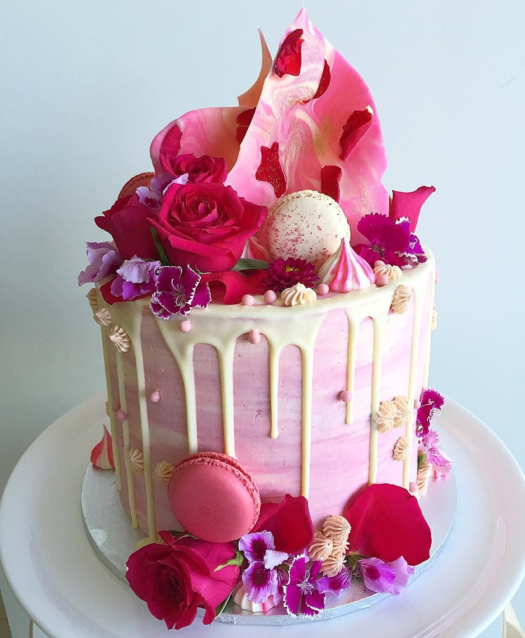 Swell Red Velvet Cake With Pink Vanilla Buttercream And Salted Caramel Funny Birthday Cards Online Chimdamsfinfo