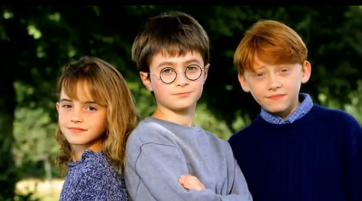 Hermine Granger, Harry Potter and Ron Weasley. So cute!