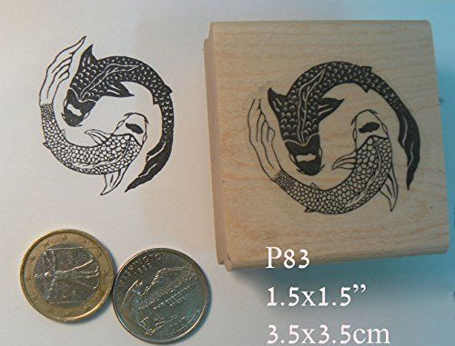 P83 ying Yang koi fish rubber stamp -- You can get additional details at the image link.
