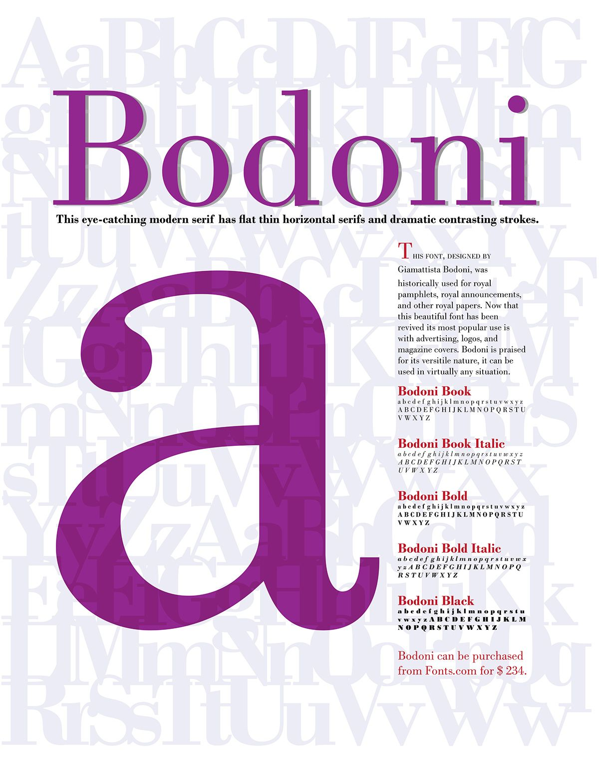 Bodoni Typographical Poster on Behance