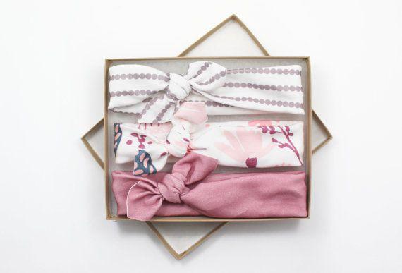 Photo of Items similar to Baby headbands, Baby girl headbands, knotted newborn headband, baby hair accessories, newborn baby gift, baby shower gift, turban headband on Etsy