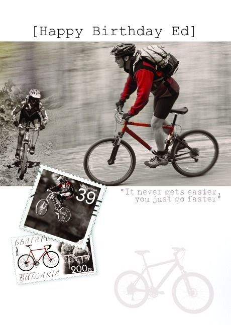 helloturtle birthday cards mountain bike personalised card