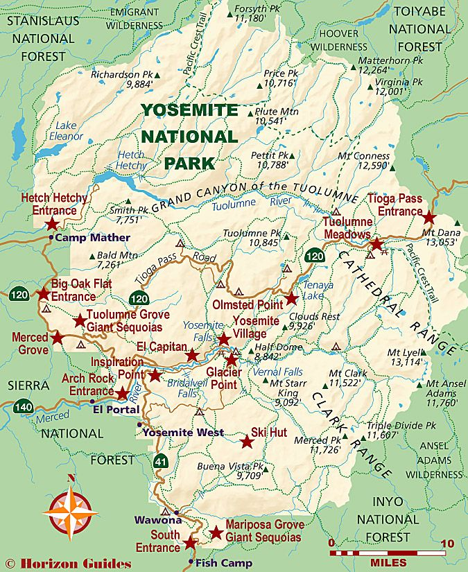 Yosemite National Park Map | Travel | Voyage californie, Voyage usa ...