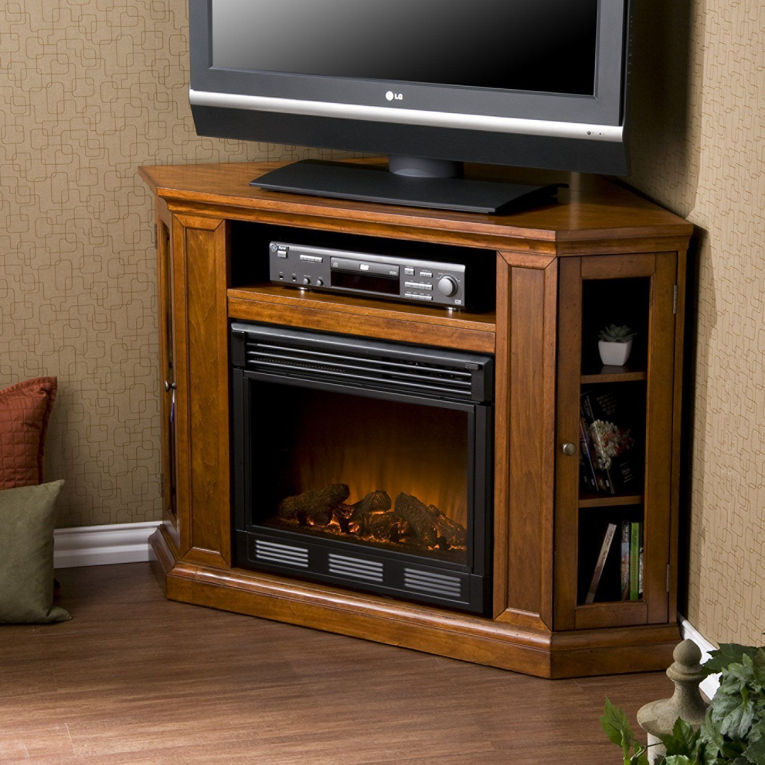 Convertible Electric Corner Fireplace TV Stand in Mahogany - Convertible Electric Corner Fireplace TV Stand In Mahogany