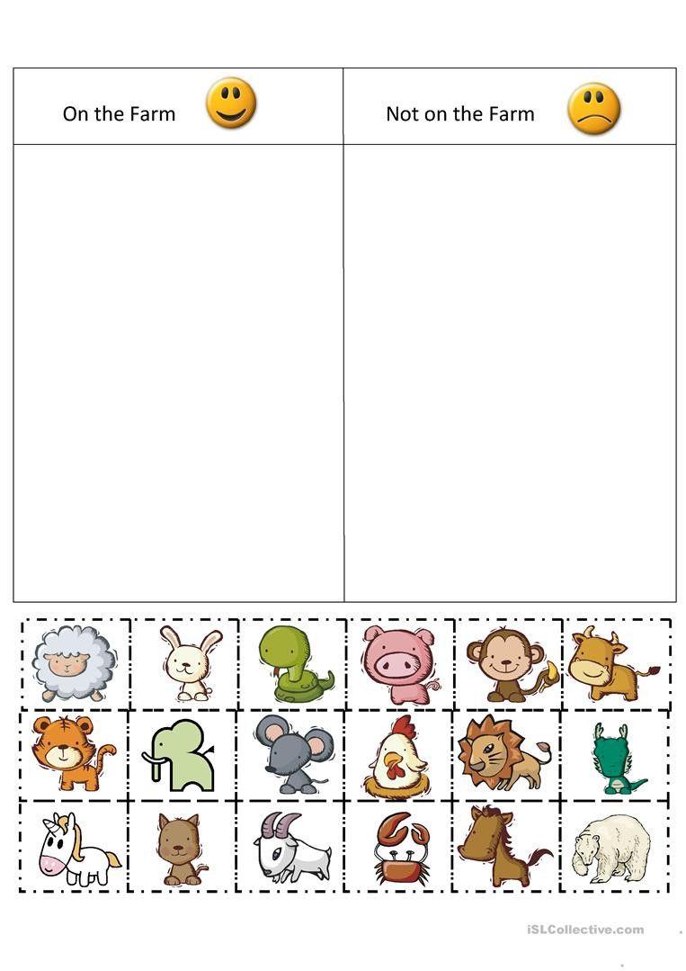 Sorting Worksheets For Kindergarten In 2020 Farm Preschool Farm Kindergarten Farm Theme Preschool [ 1079 x 763 Pixel ]