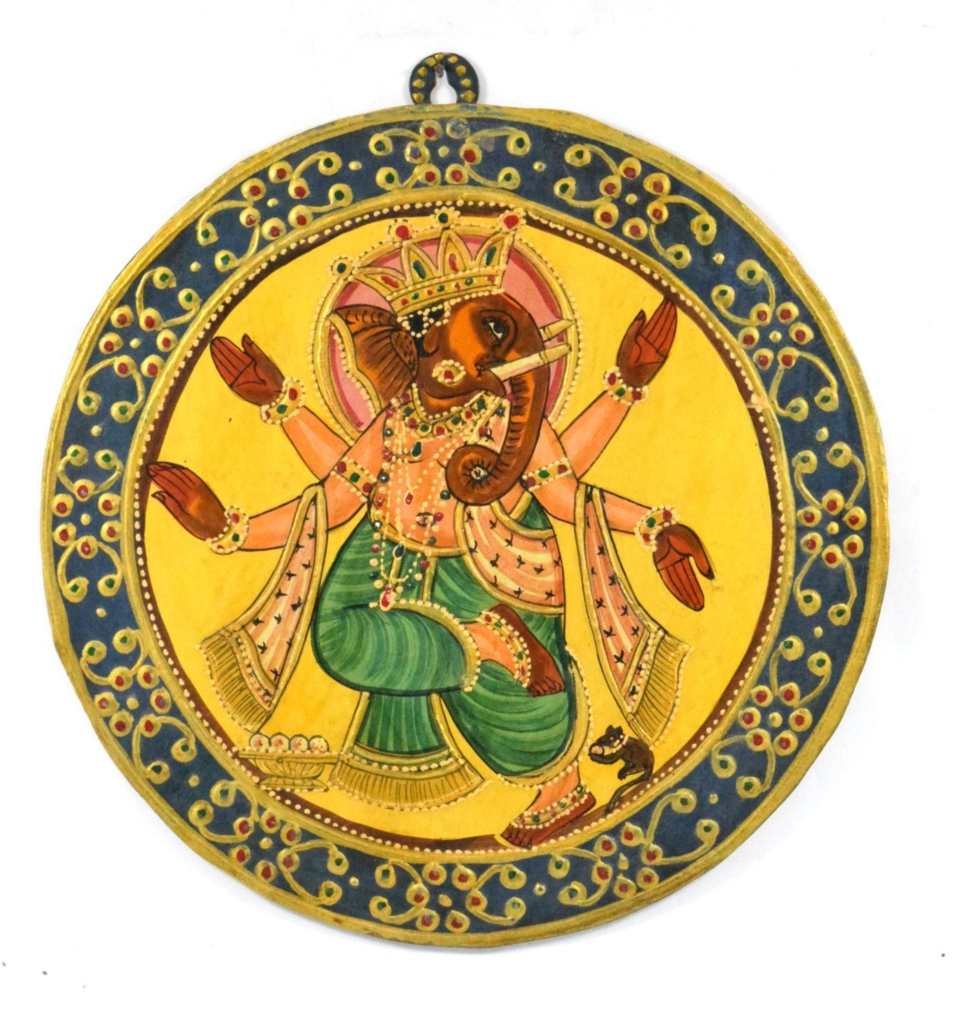 Vintage Look Decorative Wall Hanging Hand Painted Ganesha Painting ...