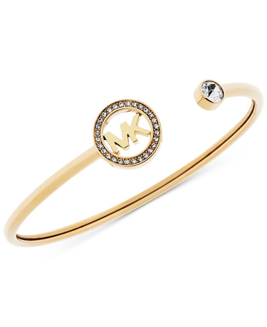 Michael Kors Crystal Logo Cuff Bangle Bracelet