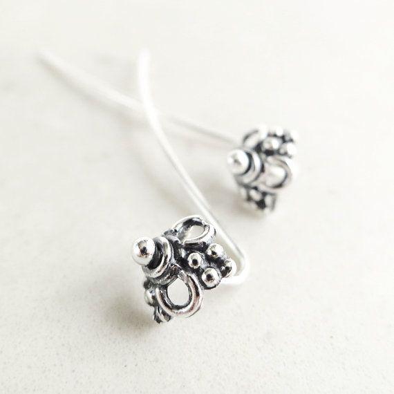 Pretty!  Etsy listing at https://www.etsy.com/listing/94469848/long-post-earrings-sterling-silver
