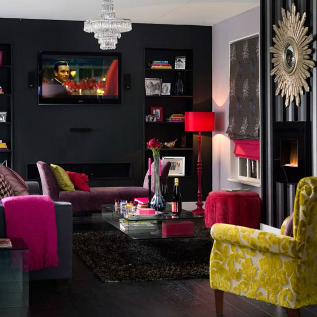 Dark Grey Wall Color With Pink Floor Lamp For Unique Living Room Inspiration