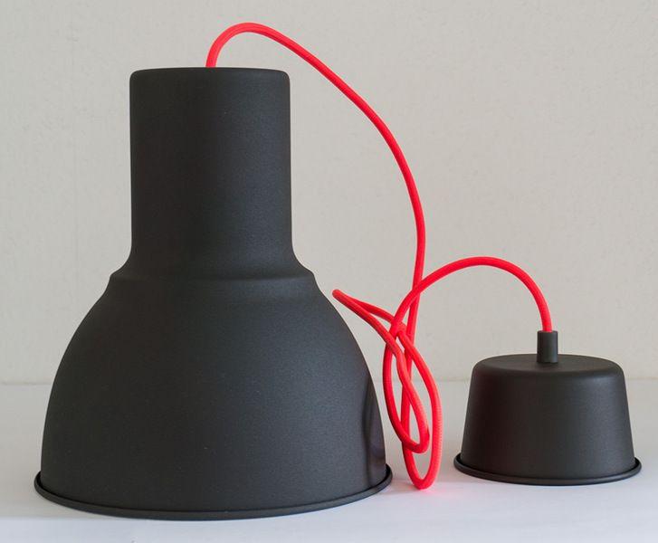Deckenlampe Textilkabel Neon Orange von handmade-light-design auf DaWanda.com