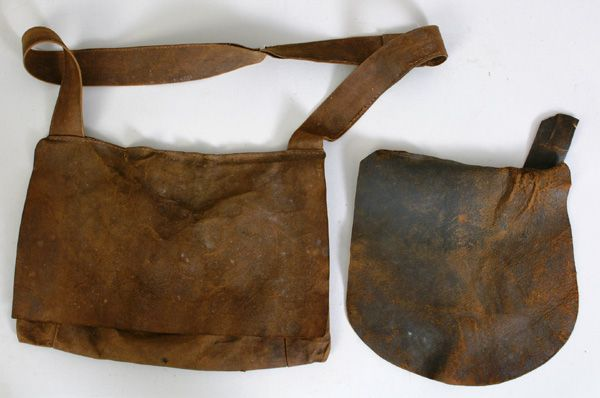 Pair Of Early Leather Hunting Pouches Or Possible Bags