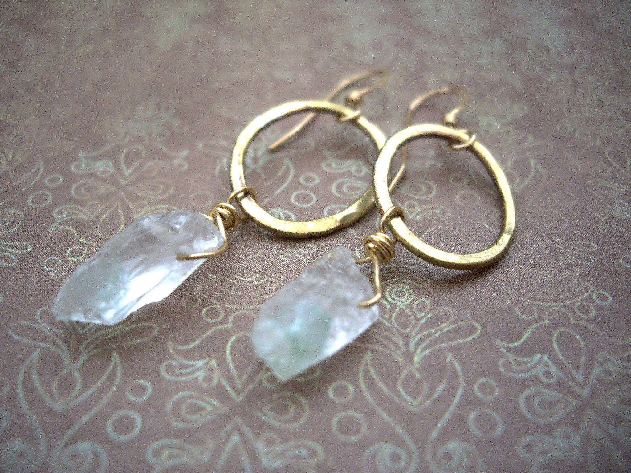 Photo of Raw stone earrings, Raw quartz earrings, Gold oval loops, Handmade loop earrings, Raw crystal earrings, Green quartz, Boho earrings, clip on