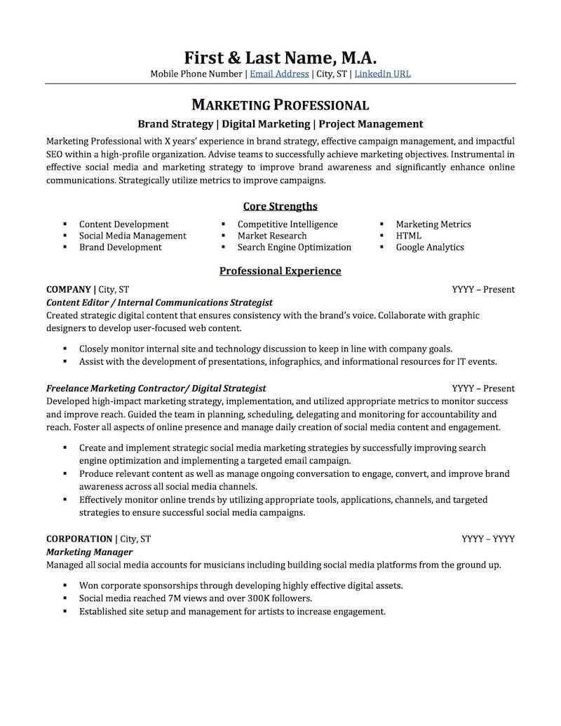 Resume Format Marketing Marketing Resume Professional Resume