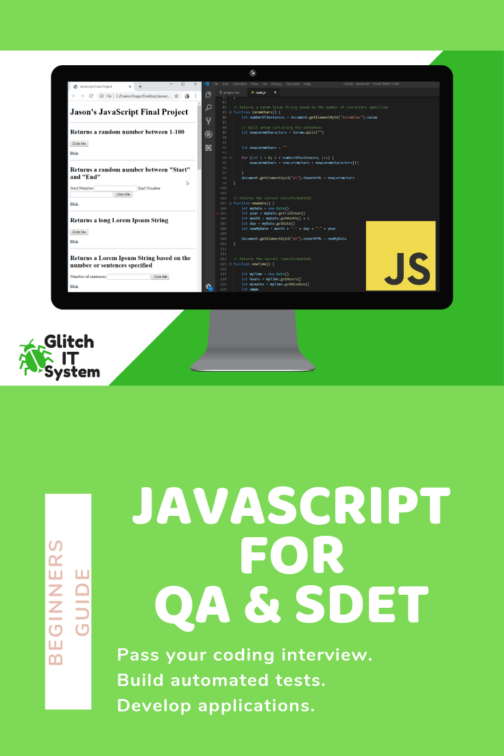 Javascript For Qa Engineers And Sdets Udemy Course Javascript Software Testing Freelancing Jobs